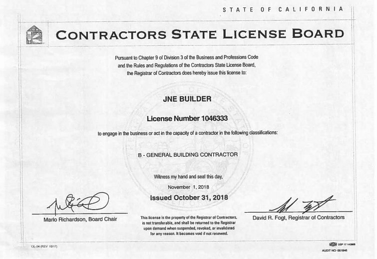 JNE Builder Granted a CSLB License